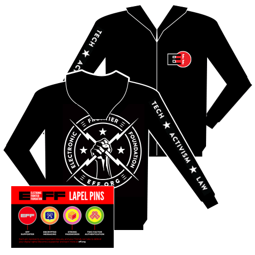 Electric Fist Hooded Sweatshirt and Pins