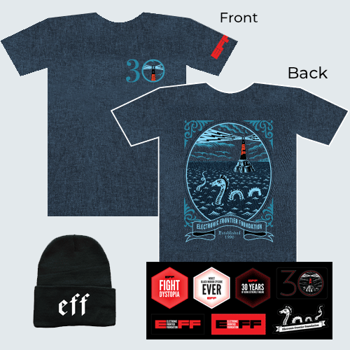 Donor Combo: EFF30 Lighthouse T-Shirt, Hat, and Sticker Sheet