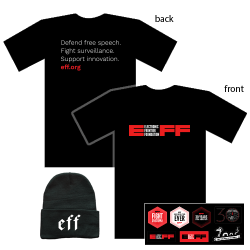 Donor Combo: EFF Logo T-Shirt, Hat, & Sticker Sheet