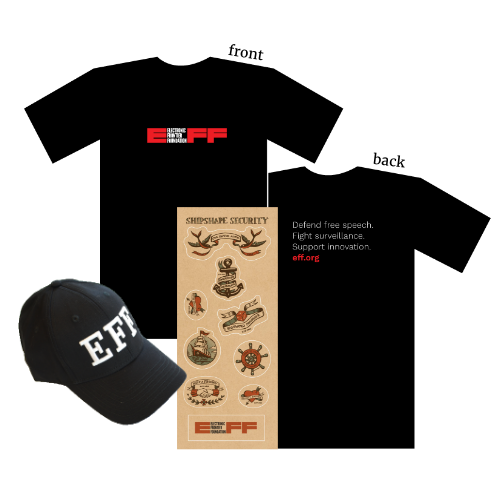Donor Combo: EFF Logo T-Shirt, Hat, and Shipshape Sticker Sheet