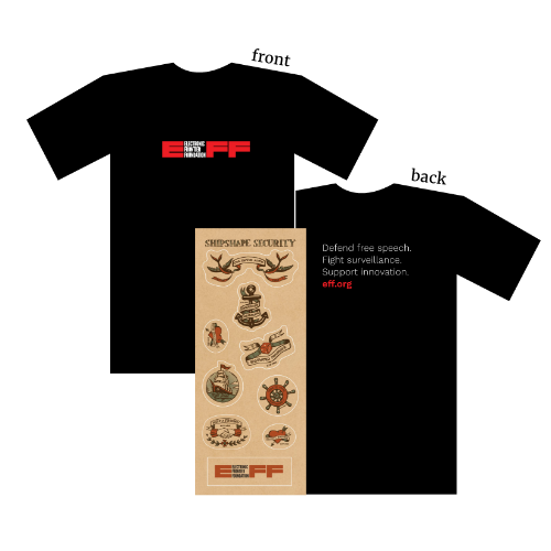 EFF Logo T-Shirt and Shipshape Sticker Sheet