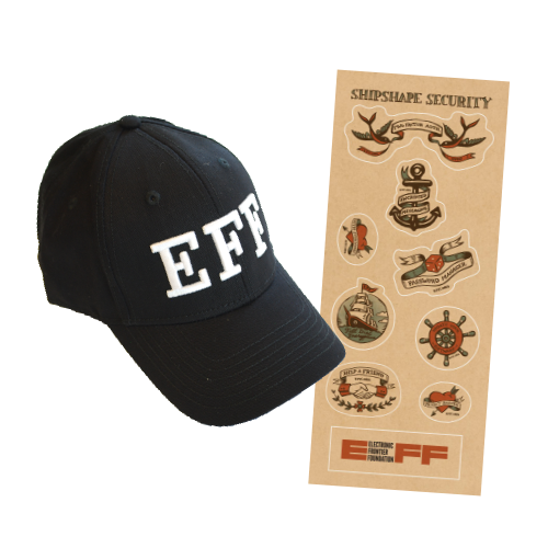 EFF 'FBI' Hat and Shipshape Sticker Sheet