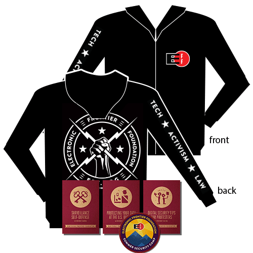 Electric Fist Hooded Sweatshirt, Security Guides, & Patch