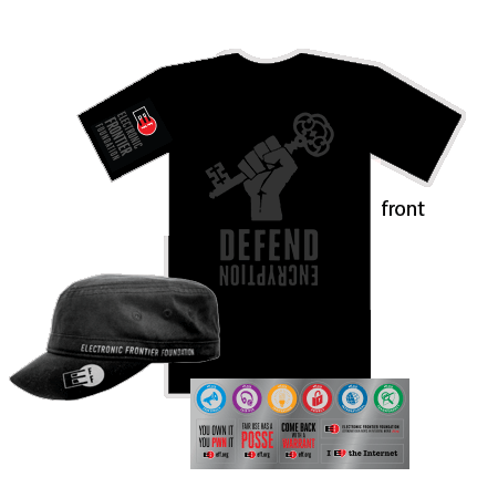 Donor Combo: Encryption Shirt, Hat, & Sticker Sheet